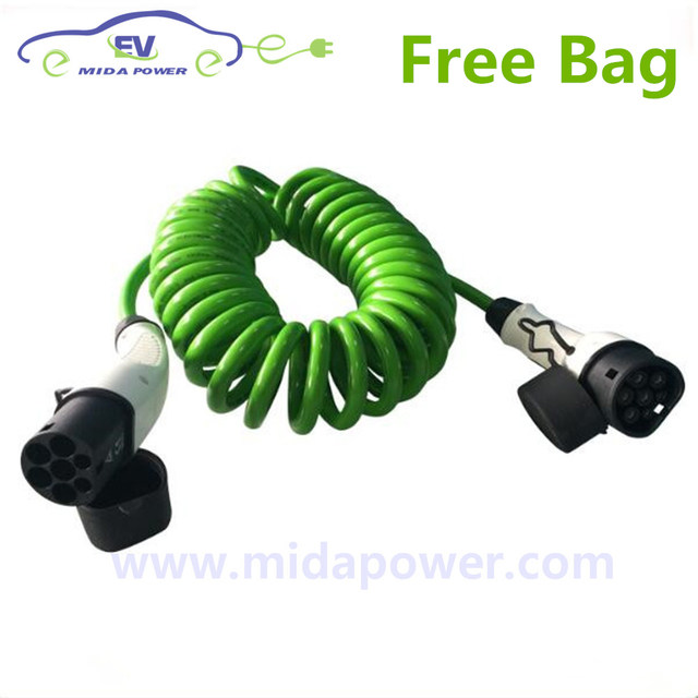 CE Certificate 5Meter 32Amp EV Coiled Cable Type 2 Male IEC 62196-2 Type 2 Menekes Female EV Plug EV Charging Station Free Bag