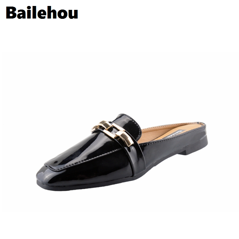 Bailehou Fashion Women Pumps Casual Women Slides Square Toe Low Heels Mules Slip-on Slippers Chain Button Leisure Retro British exotic chinese retro totem embroidery shoes woman canvas flat heel mules cool fish warping slip on slipper casual slides size 41