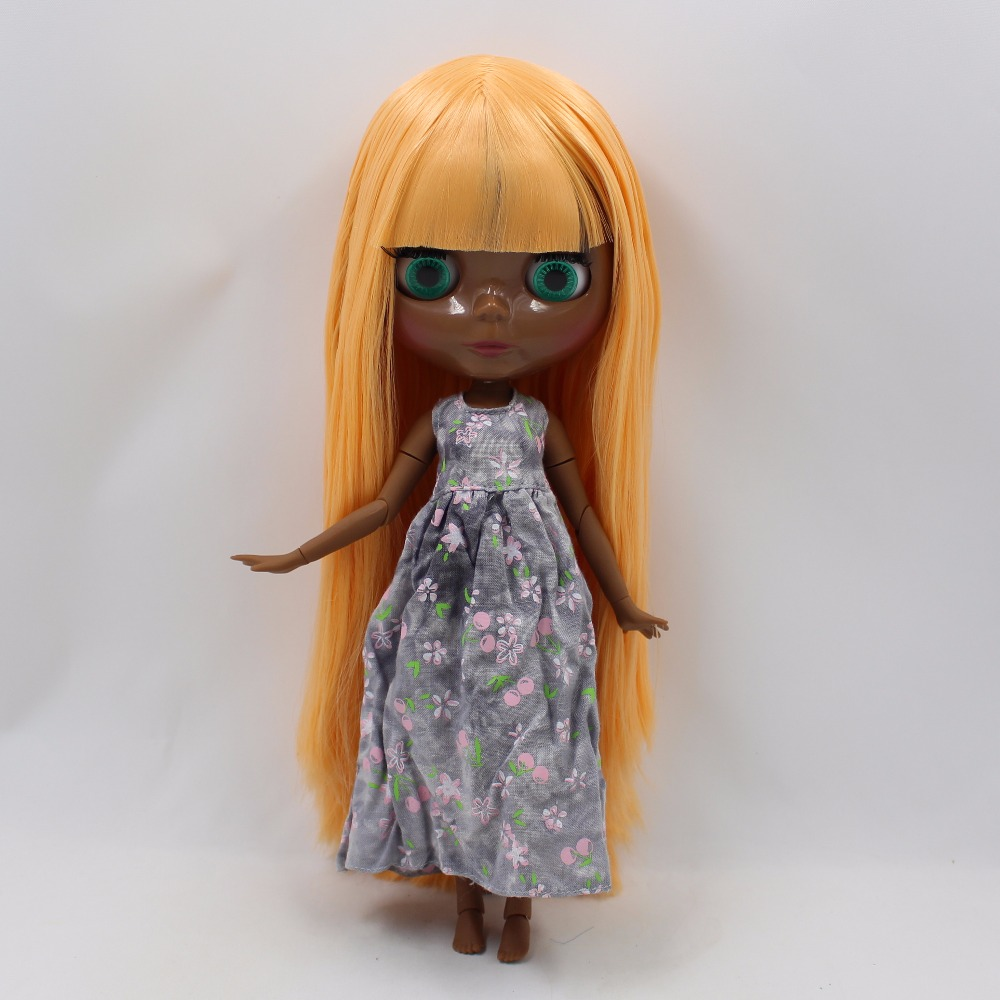 Neo Blythe Doll with Orange Hair, Black skin, Shiny Face & Jointed Body 1