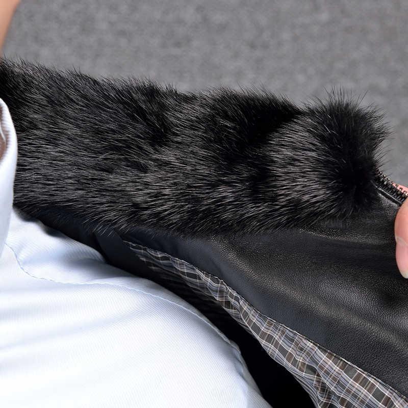 2019 Дешевая Куртка из натуральной кожи Мужская зимняя кожаная куртка толстые белые пуховики и пальто с норковым воротником стойка Черный