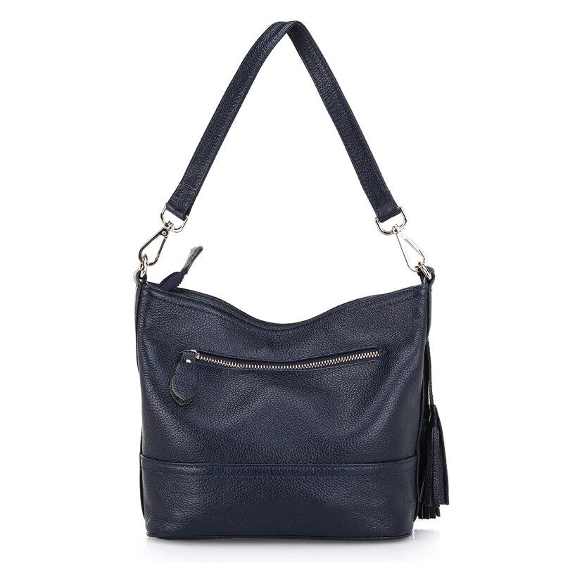 Zency 100% натуральная кожа модная женская сумка на плечо с кисточкой Праздничная сумка мессенджер через плечо Сумочка в классическом стиле сум... - 5