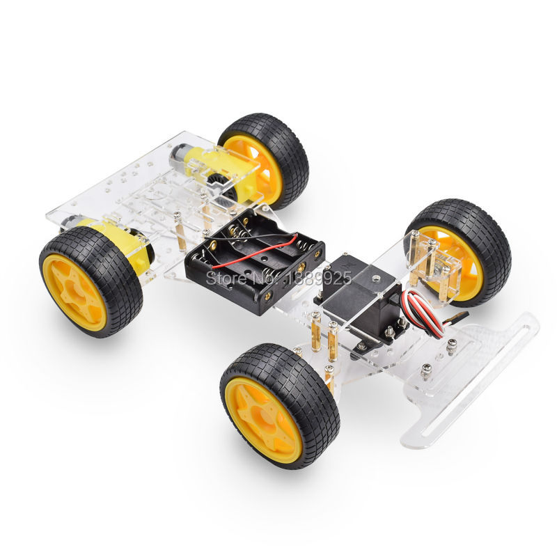 Steering Engine 4 Wheel 2 Motor Smart Robot Car Chassis Kits DIY For Ar-duino