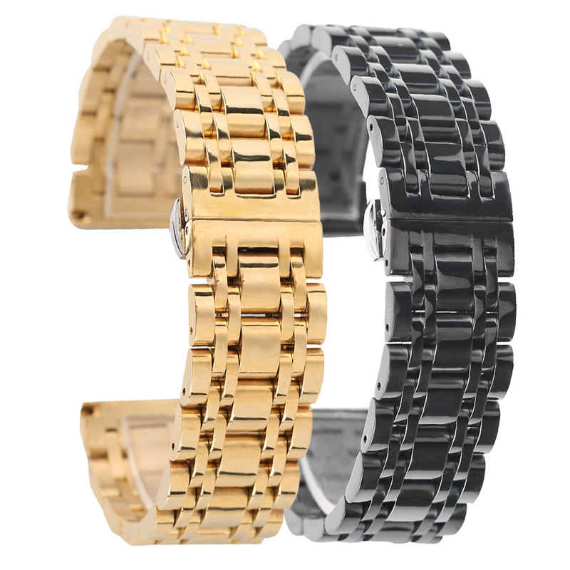 20mm 22mm Stainless Steel Watch Band Strap Black/Golden Bracelet Watchband Wristband Butterfly Buckle High Quality kcchstar the eye of god high quality 316 titanium steel necklaces golden blue