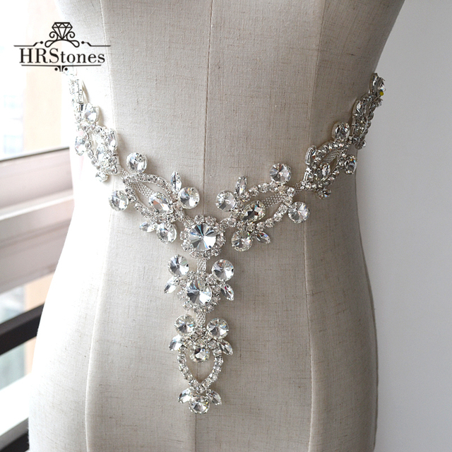 Trigeminal V Shaped Neckline Waist Glass Drill Wedding Dress Costume