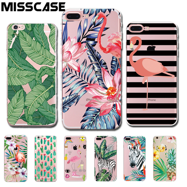 MISSCASE Phone Case For iPhone 6 6s 7 plus Fashion Flamingo Clear TPU Soft Silicone coque Cover For iphone 6 6s 7 5 5s SE Cases