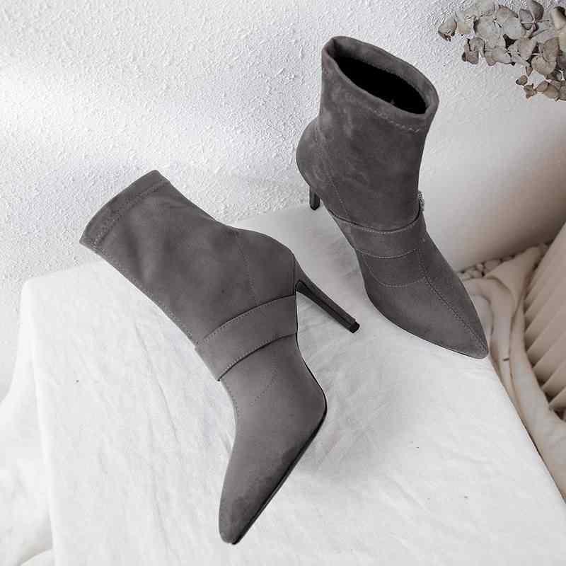 Yeni varış akın sivri burun yüksek topuklu kadın yarım çizmeler katı gece kulübü streç çizmeler zarif kristal sıcak kış ayakkabı L0f2