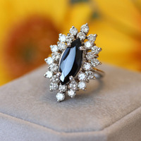 Laxury 1.5ct 12x6MM Black Marquise Cut Moissanite Ring Solarite with Round Brilliant Cut Lab Diamond Halo Ring for Women