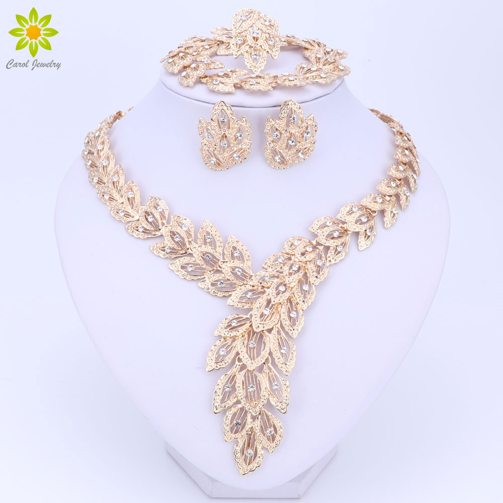 font b Jewelry b font Sets For Women Fine Crystal Necklace Earrings Bracelet Set African