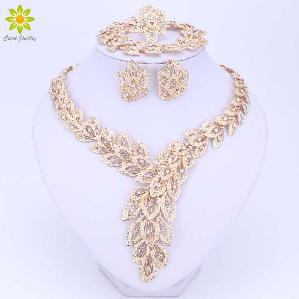 Schmuck Sets Für Frauen Feinen Kristall Halskette Ohrringe Armband Set Afrikanische Perlen Gold Farbe Anhänger Hochzeitskleid Zubehör