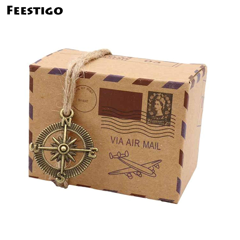 100PCS Vintage Air mail Favor Boxes Bonbonniere With Globe Kraft Paper Candy Boxes Gift Box For Wedding Travel Themed Party