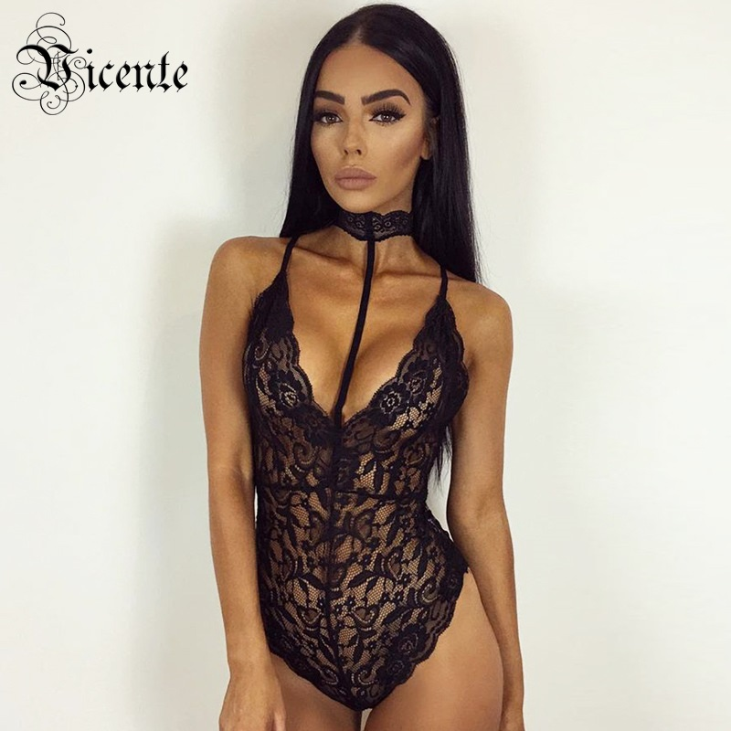 Free Shipping! 2018 New Chic Floral Lace Sexy Halter Deep V Neck Back Cross Sleeveless Women Bodycon Lace Bodysuit