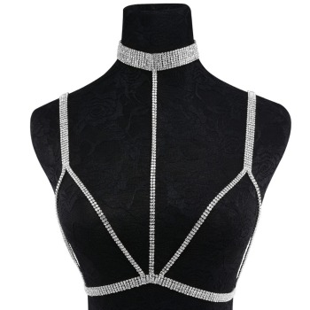 Rhinestone Multilayer Rows Crystal Bra Chain8