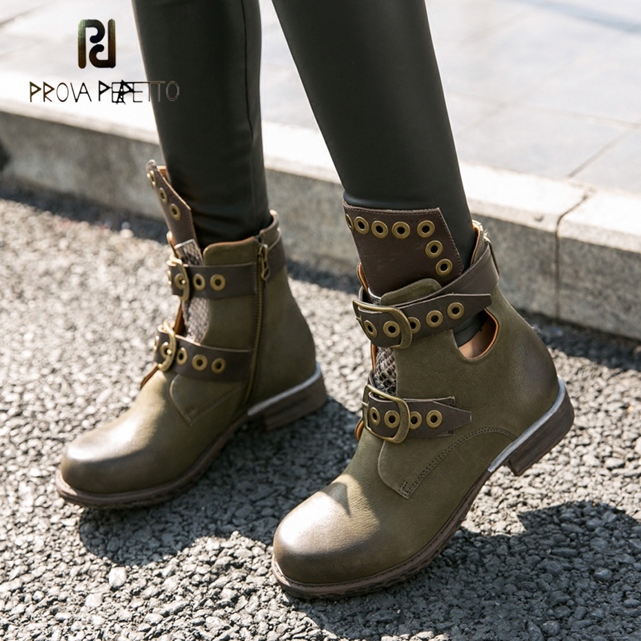 Prova Perfetto Fashion Mixed Color Women Short Boots Low Heel Hollow Shoes Metal Ring Belt Buckle Chealsea Boots Zapatos Mujer prova perfetto genuine leather mixed metal decoration mid calf boots square toe thick heel buckle belt retro matrin boots women