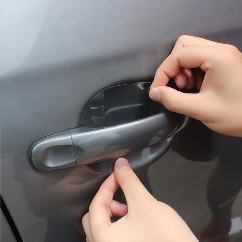WMMWMD 4Pcs/LOT Car Handle Protection Film Exterior Transparent Car sticker