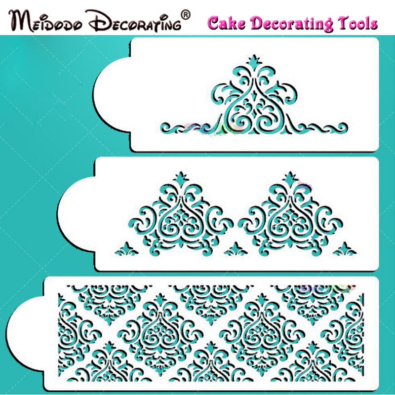 Cake Decorating Store Voucher Codes : New High Quality 3Pcs Elaine s Cake Stencil Set Wedding ...