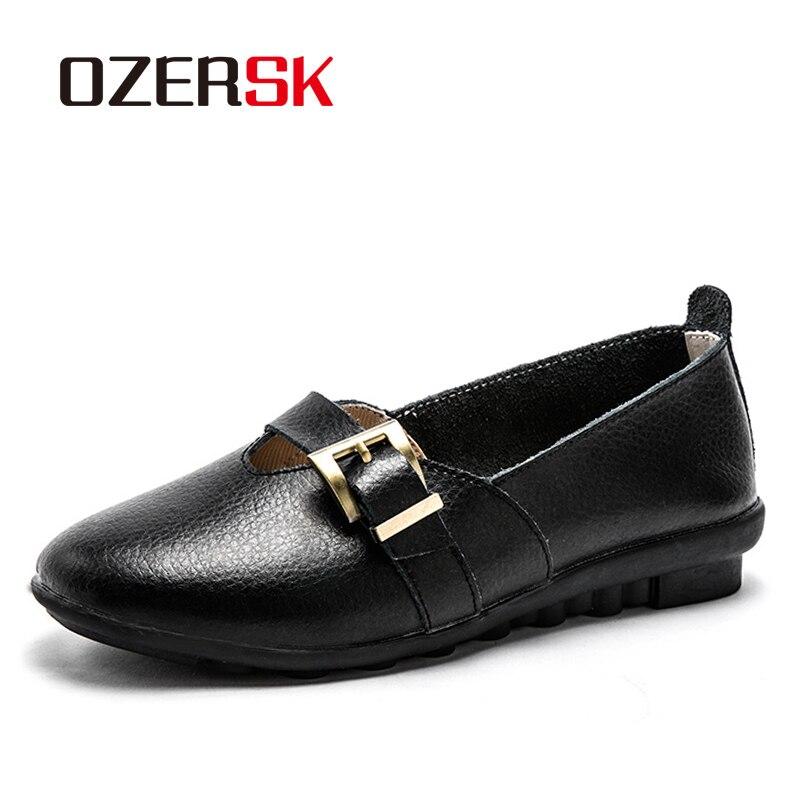 Ozersk 35-44 mulher loafer sapatos leves respirável casual sólido tênis de couro genuíno deslizamento em apartamentos único furo sapatos mãe