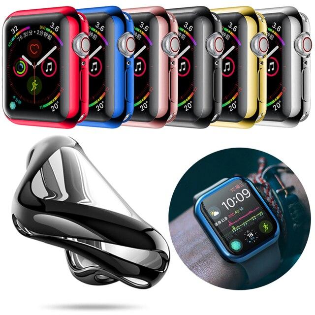 Moda 360 stopni wąski zegarek pokrywa dla Apple Watch 3/2 42MM 38MM Case miękka przezroczysta osłona na ekran z tpu dla iWatch 4 44MM 40MM