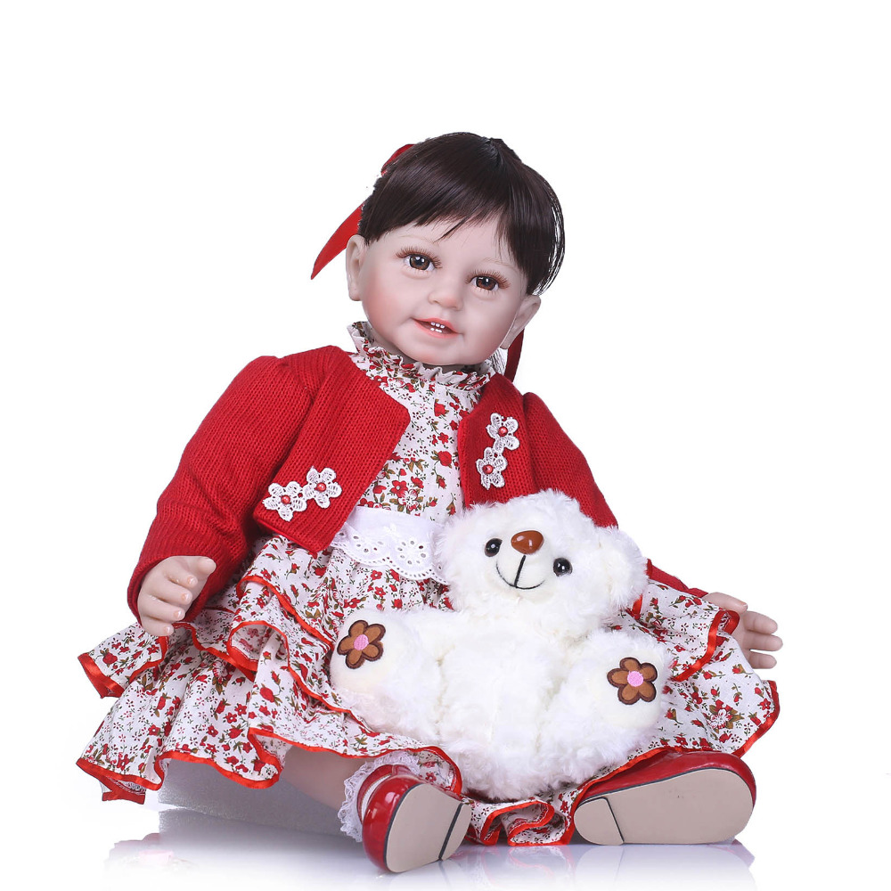 Nicery 22inch 55cm Lifelike Reborn Baby Lovely Girl Doll High Vinyl Christmas Toy Gift for Children Red Clothes White Dog Doll [mmmaww] christmas costume clothes for 18 45cm american girl doll santa sets with hat for alexander doll baby girl gift toy
