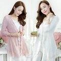 Mulheres Meninas Cardigan Outerwear Camisola Malhas Rendas De Malha Queda Primavera Jaqueta