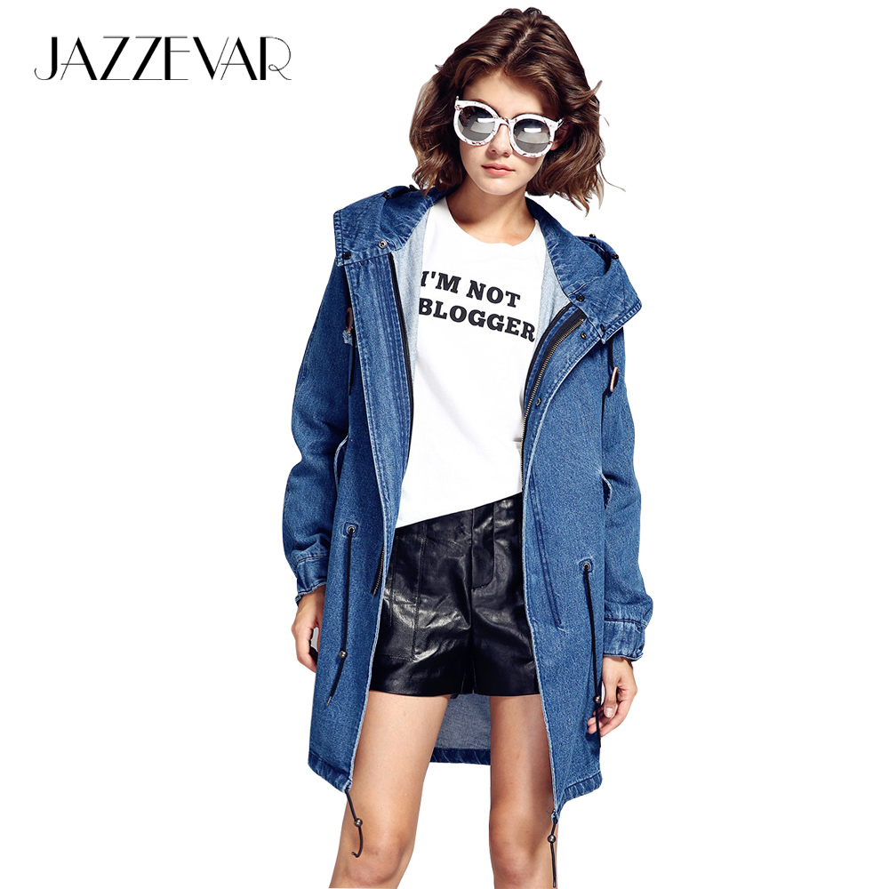 JAZZEVAR 2019 Autumn Winter High Fashion Street Cotton Demin Hooded   Trench   for woman Casual Washed Outerwear Loose Clothing