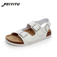 FeiYiTu New Summer Beach Cork Sandals Flat with Casual Men Double Buckle Sandalias Valentine Shoe 35-44 Black White Brown Beige soft beige metallic buckle flat sandals