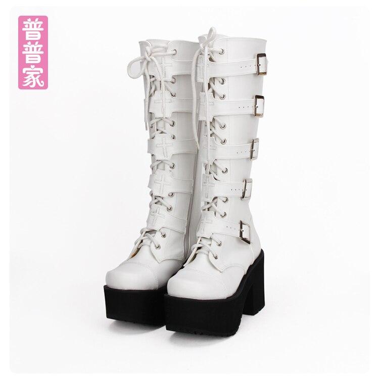 цена на Princess sweet lolita shoes High barrel boots of autumn and winter PUNK thick bottom muffin comic boots side zipper tie pu7008