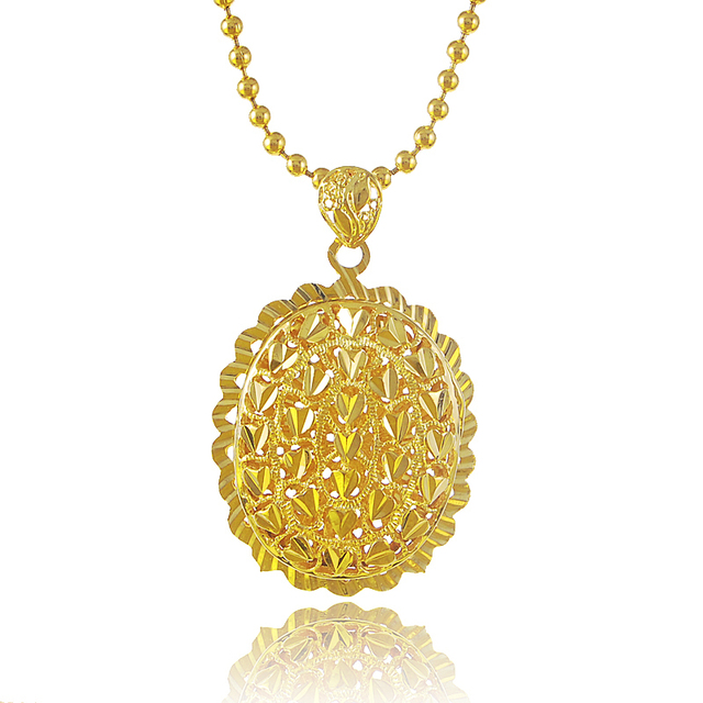 2016 unique design round shape heart pattern pendant 24k gold beads 2016 unique design round shape heart pattern pendant 24k gold beads necklace for womengirls aloadofball Image collections