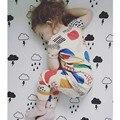 Высокое Качество, Модные Девушки Одежда Наборы Досуг Топы + брюки 2 шт. Летние Детские Детская Одежда Набор 2016 Новый мальчики Домашняя Одежда