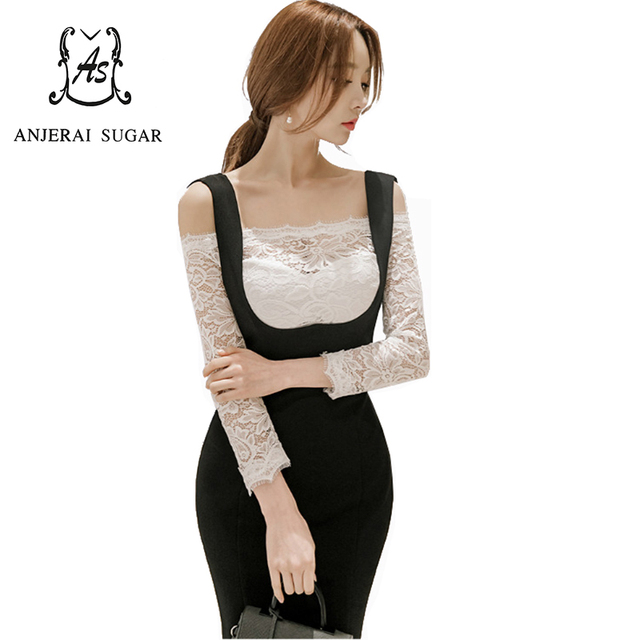 Spring 2 piece women suits Sexy slim Strapless collar white lace shirt and black Night club Package hip Bodycon Suspender skirt