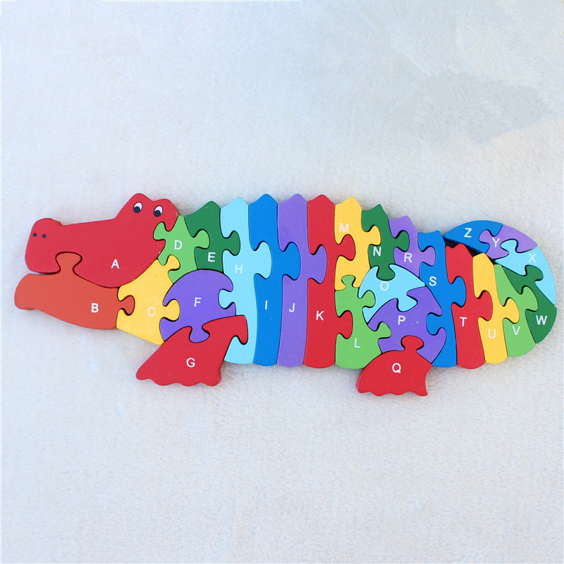 Kids Winding Animal Wooden Puzzle toys Hippocampus Crocodile Jigsaw Children Early Educational Brain Game English Letters gifts children s early childhood educational toys the bear change clothes play toys creative wooden jigsaw puzzle girls toys