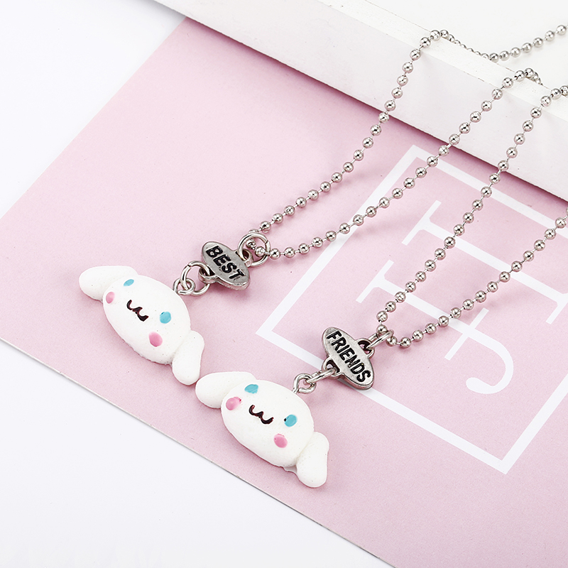 Cute Dog Pendant Necklace Set Of 2 BFF Necklaces For Girls t On Bead Chain Necklace For kids Jewelry