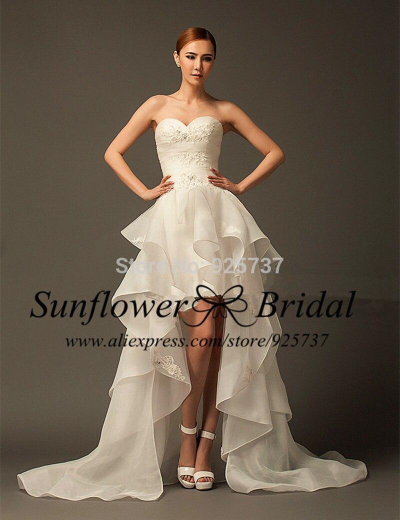 cheap organza high low design beach wedding dress short front long back sweetheart short wedding dress