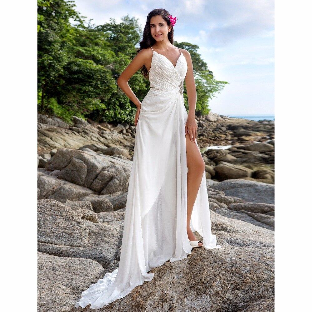 V Neck Wedding Gown: LAN TING BRIDE Sheath Column Wedding Dress V Neck Sweep