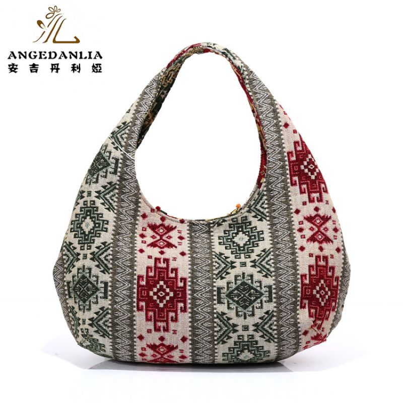 Women Bohemian Half Moon Boho Handbag Las Colorful Beading Shoulder Bag Cotton Fabric Canvas National Ethnic Bucket Bags In From Luggage