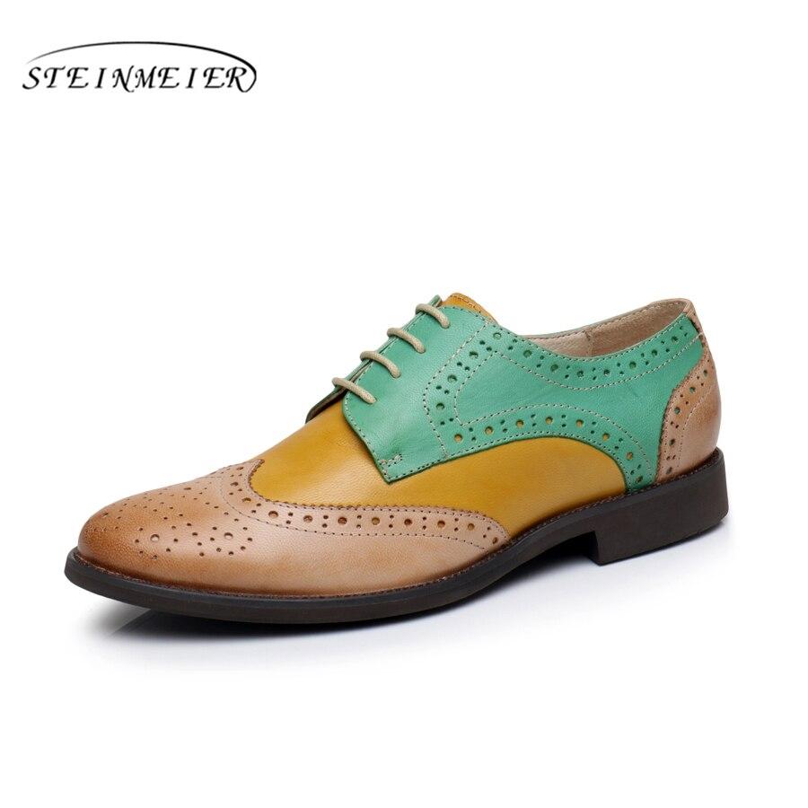 100% Echtem Schaffell Leder Designer Vintage Yinzo Dame Wohnungen Schuhe Handgemachte Oxford Schuhe Für Frauen Schwarz Braun Grau Grün