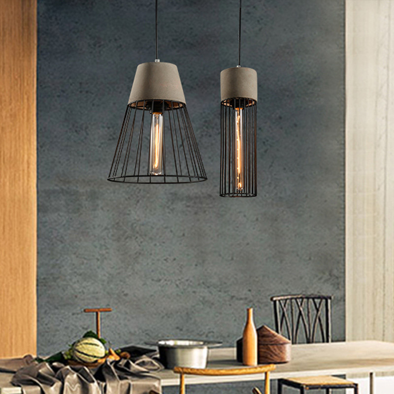 Vintage Industrial Metal Cage Cement Pendant Lights Gray/Red Dining Room Bar Ceiling Fixtures Lighting free shipping vintage industrial clear glass metal cage pendant lights lamps dining room ceiling fixtures lighting