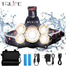 цены 40000Lums LED headlamp  3/5*T6 Headlight  5 modes Zoomable Ajustment flashlight Head lamp+2*18650 Battery+DC/AC Charger+BOX