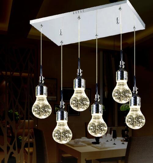 Rectangular LED restaurant lamp dining room lamp bubble crystal modern minimalist stainless steel creative pack pendant light ZH