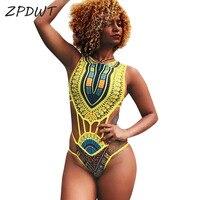 ZPDWT Tribal Swimwear Women African Print Swim Bathing Suit Cut Out Monokini Bandage One Piece Swimsuit