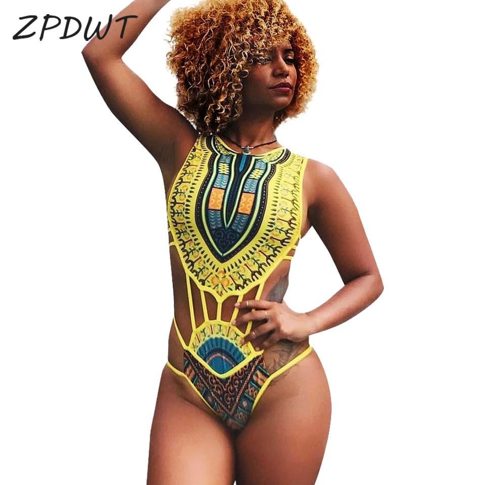 ZPDWT Tribal Swimwear Women African Print Swim Bathing Suit Cut Out Monokini Bandage One Piece Swimsuit Female Beachwear Trikini fashionable strappy printed cut out one piece swimsuit for women