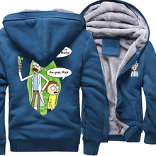 wine red Rick and Morty coat sweatshirt homme Thick Zipper Jacket male cartoon funny hoodies 2019 wool liner warm tracksuit men