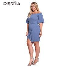 Dexia летнее платье плюс Размеры одноцветное Цвет Повседневное Для женщин круглый Средства ухода за кожей шеи вечерние черный, красный с голубое платье женский спинки сексуальные Vestidos