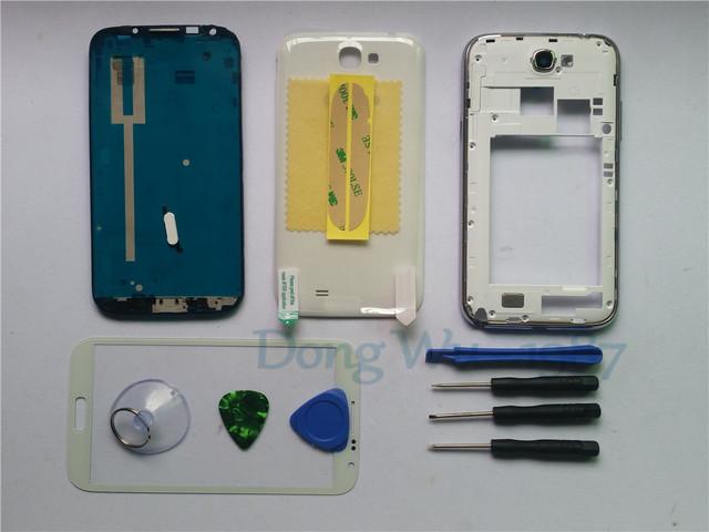 Branco substituição integral da habitação case capa + tela do telefone móvel ferramentas de lente de vidro para samsung note 2 n7100 da galáxia de botões