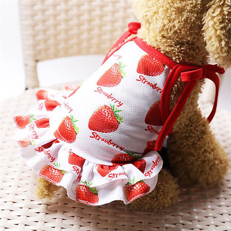 Pet Dogs Dress Breathable Polyester Fruit Print Pet Couples Dress Puppy Dog Princess Lovely Strawberry Pineapple Dress (5)