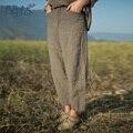 XianRan Calças Mulheres Maxi Solto Ocasional Cross-calças Bolsos Das Calças de Linho Calças Plus Size S-XXL de Alta Qualidade Frete Grátis