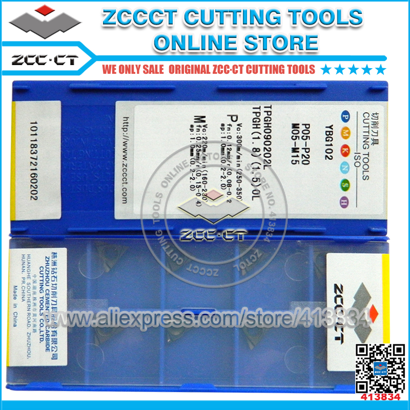 Free Shipping 50pcs ZCC inserts TPGH090202L YBG102 ZCC.CT left hand cnc turning insert for finishing of P M K workpiece