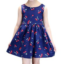 Drop shipping CYSINCOS Girls Clothing Summer Girl Dress Children Kids Berry Dress Back V Dress Girls Cotton Kids Vest dress(China)
