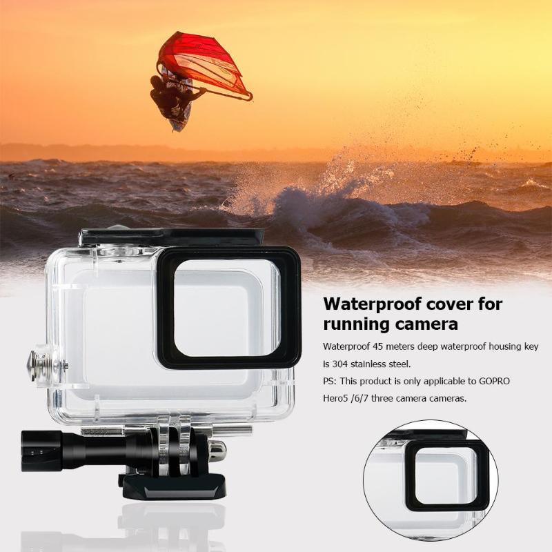 45 м водонепроницаемый глубинный водонепроницаемый корпус для дайвинга защитный чехол для камеры Gopro Hero 5 6 7