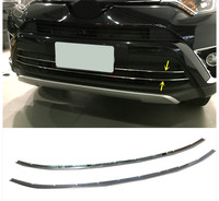 NEW For TOYOTA RAV4 2016 Stainless Front Bumper Lower Center Grille Grill Trims 2pcs