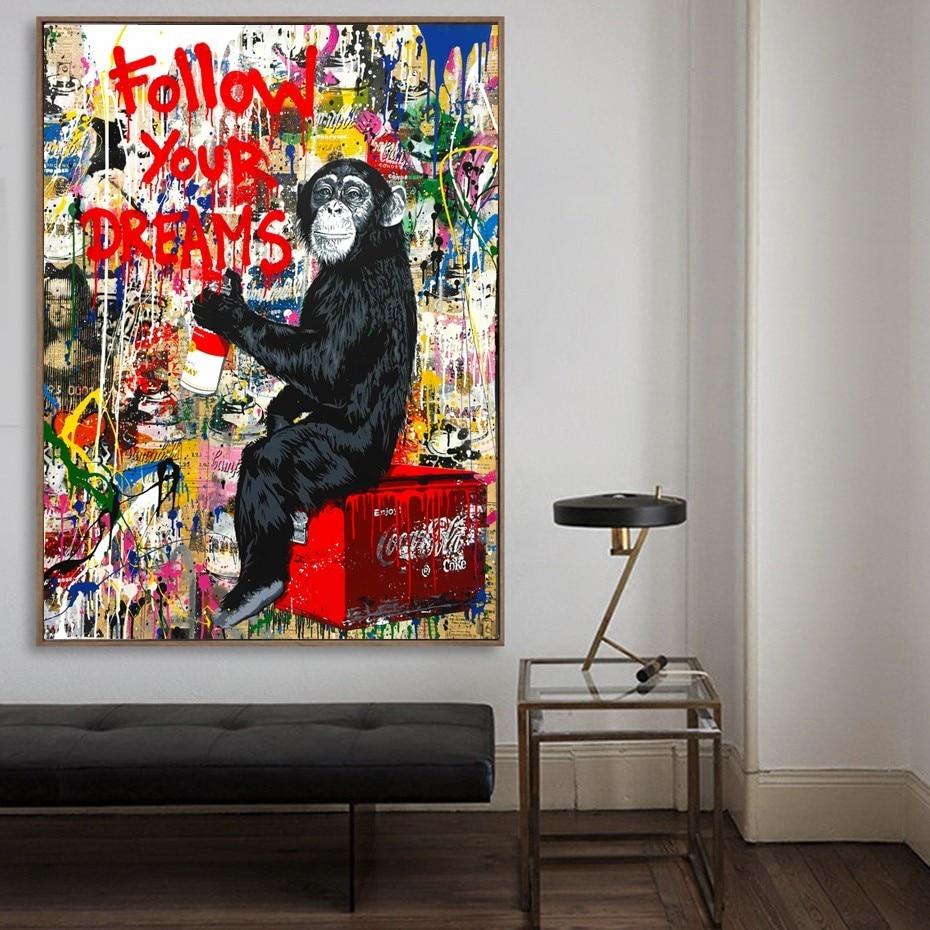 SURELIFE Abstrakte Graffiti Poster Orang Utan Super Mann Leinwand Gemälde  Träume Wand Kunstdrucke Bilder Wohnzimmer Wohnkultur